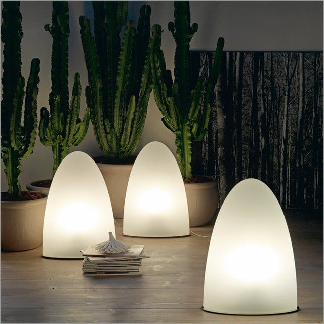 Design: Piero De Longhi Lamp For Indoor Or Outdoor, Wall Or Table Lamp,  With White Polyethylene Lampshade. The C And OUTDOOR Versions Have  Stainless Steel ...