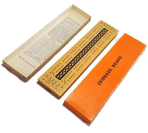 Vintage Wooden Cribbage Board Game with Original Box & Pegs- Midcentury Design- Pegs and Rules Included- Field Manufacturing- 2 Players by PinkFlyingPenguin