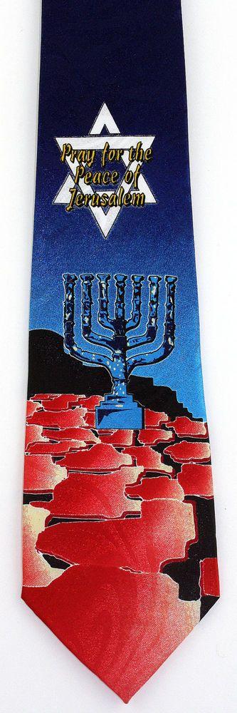 New Pray For Peace Jerusalem Mens Necktie Menorah Israel Jewish Blue Neck Tie #StevenHarris #NeckTie