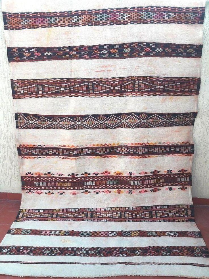 "antique hand knotted moroccan berber tribal wool kilim rug hanbal 10'1"" x 5'6""  #handmade #Tribal"