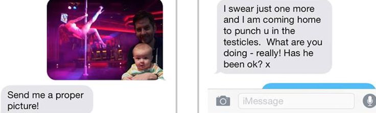 Dad photo shops baby in funny texts to send to mom. #funnytexts #hotmomsclub