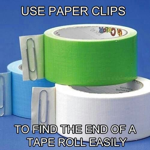 Paperclip on end of tape to find the end of it. No more searching!
