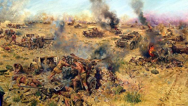 I was the last Desert Rat left firing at Rommel's Panzers: Incredible tale of heroism behind Antiques Roadshow painting - http://www.warhistoryonline.com/war-articles/thats-me-firing-a-gun-i-was-the-last-man-alive-tv-art-reveals-hero.html