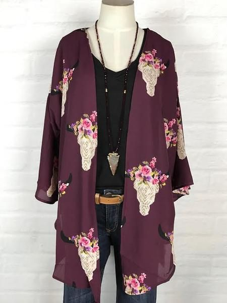 Cow Skull Kimono Wine My Style Fashion Types Of