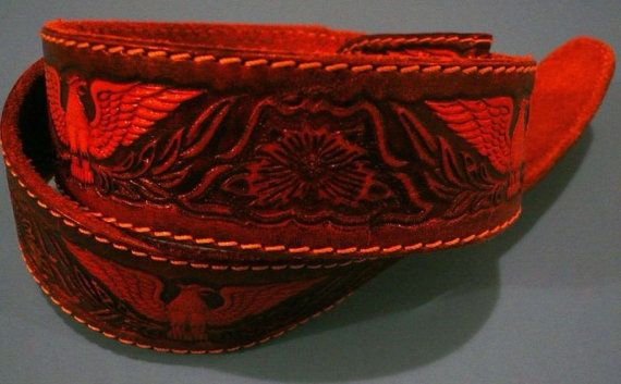 Tooled Leather BELT Eagles and Roses Made in by Tasteliberty, $25.00