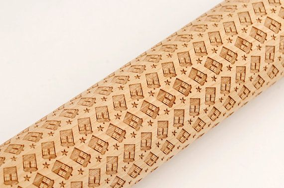★The wooden rolling pin is unique, carved with Original pattern designed by me. It can perfectly create the unique pattern on your cookies, pies and