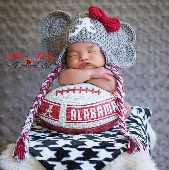 Crochet Alabama Crimson Tide Baby Newborn Hat, Crochet Elephant Hat, Big Al, Boy or Girl, Newborn, Photo Prop, Gameday