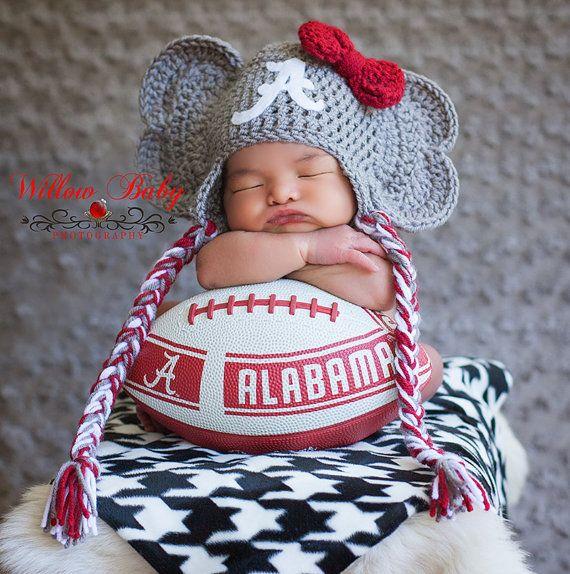 Crochet Alabama Crimson Tide Baby Newborn Hat, Crochet Elephant Hat ...