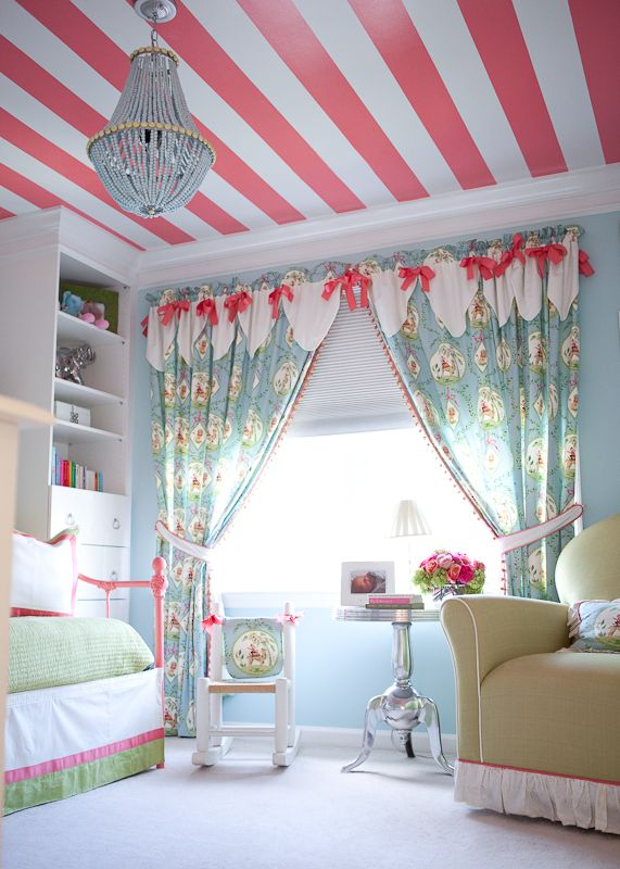 "Krista, from Kiki's List blog, daughter's room. Pink Stripe paint colour is Color Guild's ""Melon Shine"". The blue wall paint colour is Benjamin Moore's ""Bird's Egg"". Photo by Ryann Colleen Photography -I love the whimsy while still keeping it classic!  Kid's rooms don't have to be tacky! LOVE the ceiling!:"