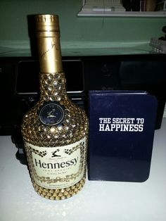 Bedazzled hennessy liquor bottle