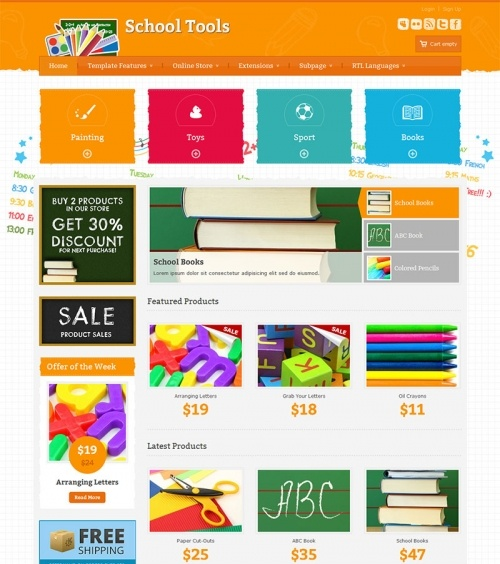 JM-School-Tools-Store - orange version, VirtueMart - free ecommerce solution