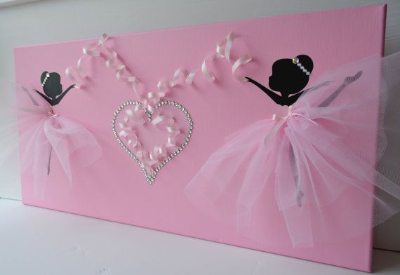 Pink ballerina wall art. Large 12X24 canvas. by FlorasShop on Etsy
