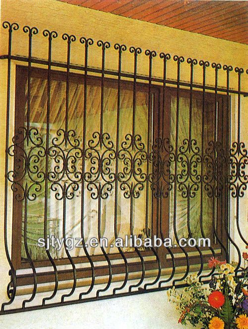 28 best wrought iron window grill images on pinterest for Window design grill