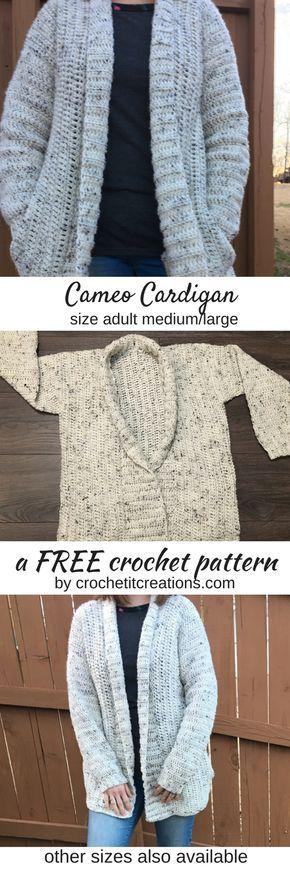 Cameo Cardigan Crochet Pattern por Crochet It Creations vem em 3 tamanhos adultos wi ...