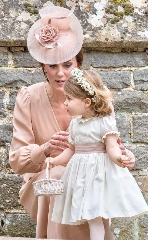 May 20, 2017: Princess Charlotte of Cambridge and her mother Duchess Kate of Cambridge at the wedding of Pippa Middleton to James Matthews at St Mark's Church in Englefield Green, England.