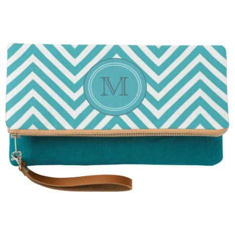 Teal Chevron Initial Monogram Personalized Clutch
