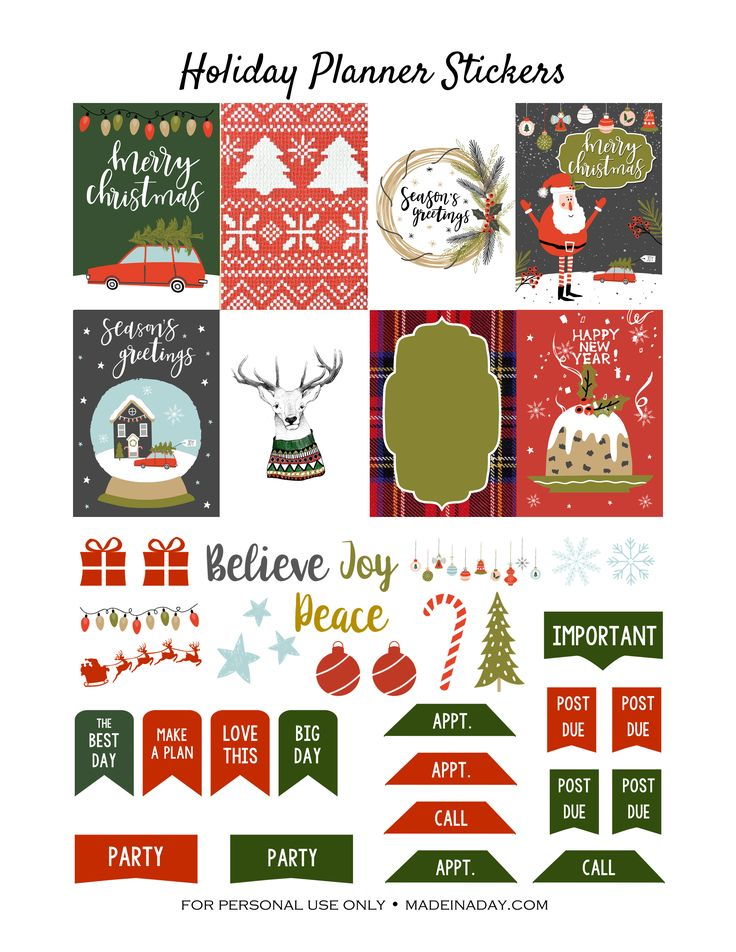 Free Printable Christmas Holiday Stickers  from madeinaday.com