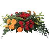 Rouwstuk oranje rood op groepen  Vanaf: €60,00