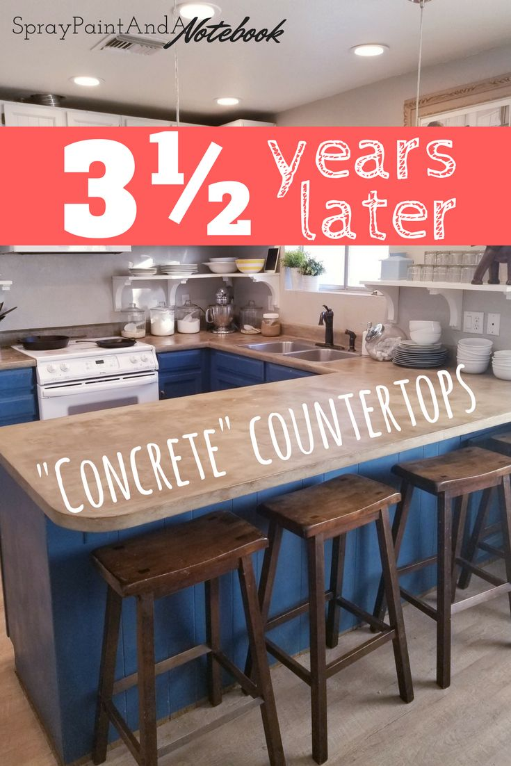 """UPDATE! Faux concrete countertops over 3 years later! See how that fauxcrete holds up! (Ardex Feather Finish concrete """"painted"""" over the top of old laminate counters)"""