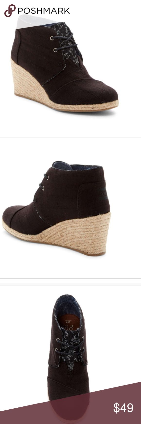 Toms desert lace up wedge Love💜love💗 this boot. First of all it is Toms quality. Then, it is a wedge which I love. So versatile to wear with cotton dresses; denim; leggings etc. expected 11/26. ❌Priced to be able to drop 10% upon arrival. ( in case there is a shipping discount) TOMS Shoes Ankle Boots & Booties
