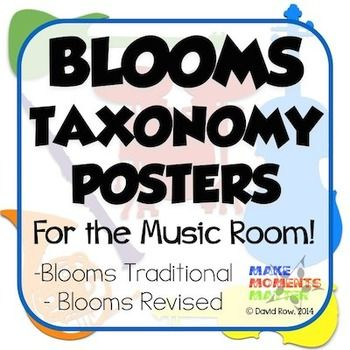 It's always important to advocate for your music program and keep people thinking about all the great ways that music education affects the learner. This set of posters breaks down Bloom's Taxonomy into its six different levels and adds verbs and indicators that you might find in the music room.