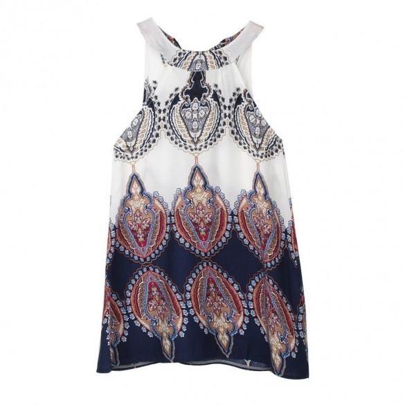 Vintage Style Casual Loose Print O-neck Sleeveless Mini Shift Beach Party Dress