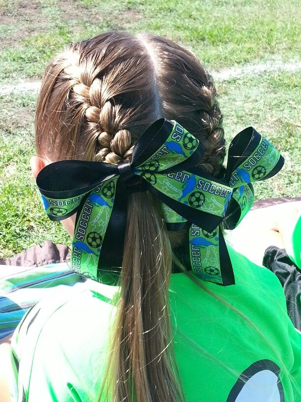 Soccer hair, bows made by mom (me). :)