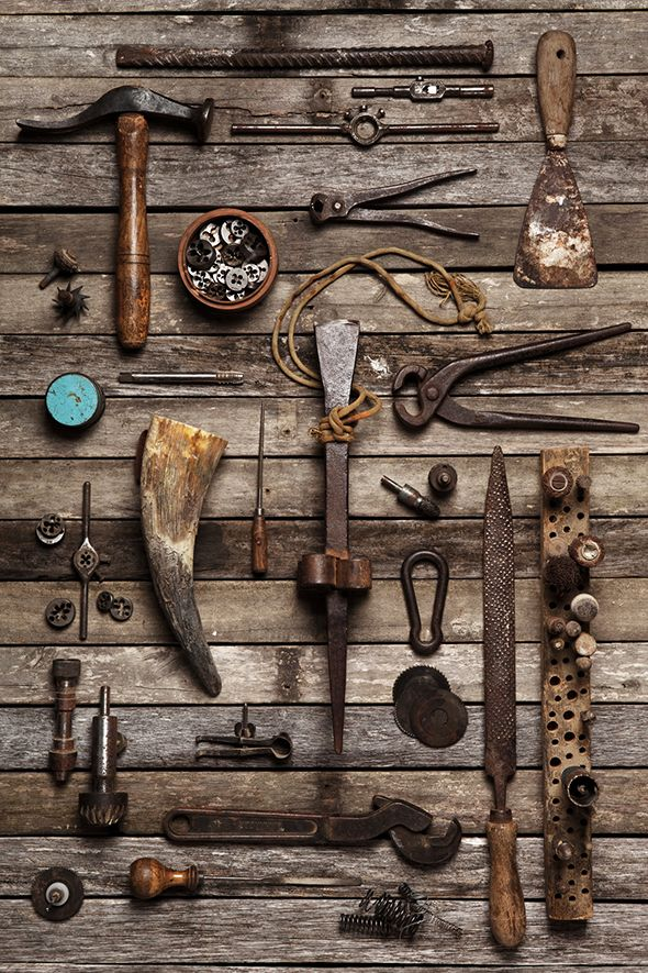Family Portraits - Camilla Catrabone  Would love to do something like this with my great grandfather's carpentry tools.