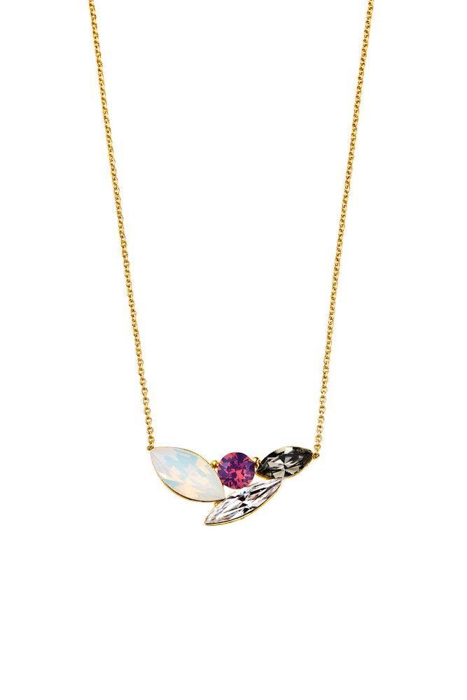 Elegancki naszyjnik pozłacany 24-karatowym złotem i ozdabiany kryształami Swarovski Crystals w trzech harmonizujących barwach.