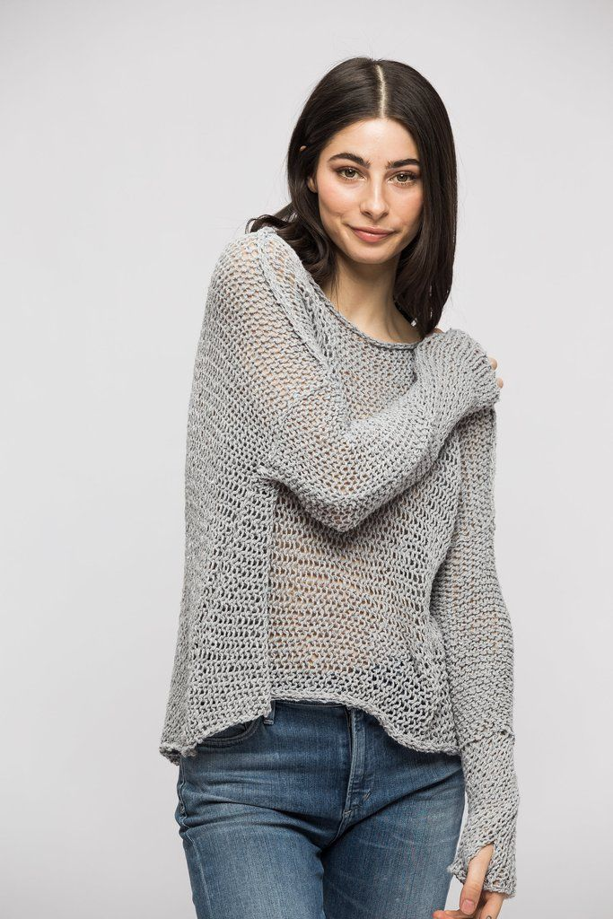 44834532b Grey Cotton woman knit sweater in 2019