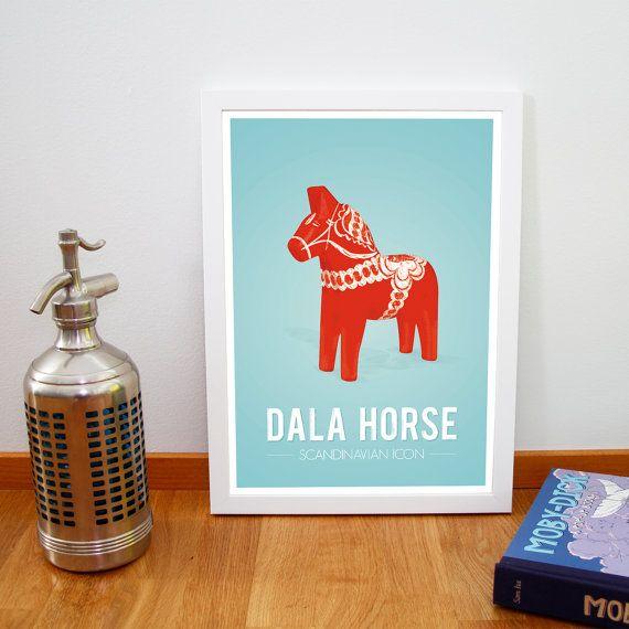 Retro Dala horse print from Scandinavia par fromparistohelsinki, €14,00