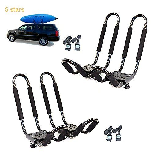 Mrhardware Kayak Roof Rack for SUV Car Top Roof Mount Carrier J Cross Bar Canoe Boat (Configuration 2PAIRS)