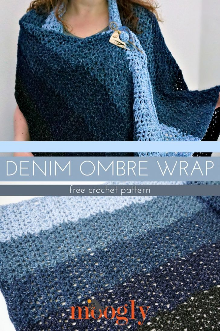 Denim Ombre Wrap - free crochet pattern on Mooglyblog.com!