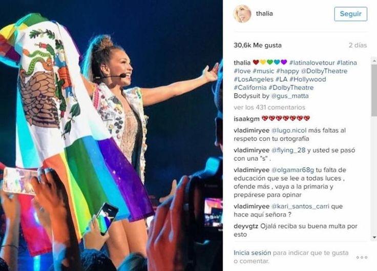 Le llueven críticas a Thalía por bandera 'gay' de México - El Siglo de Torreón