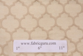Chenille Damask Upholstery Fabric in Champagne