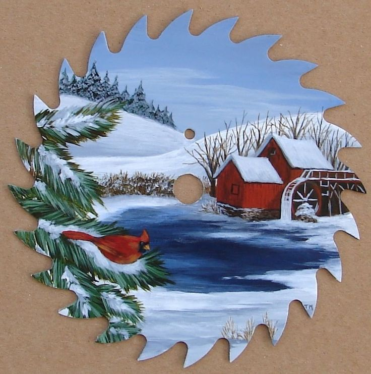 Hand Painted Saw Blade Cardinal Red Bird Old Mill Pond Snow Lodge Cabin Decor