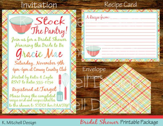 Stock the Pantry Bridal Shower Package by KMitchellDesign on Etsy, $25.00