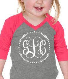 Toddler Monogram, Toddler Raglan, Mommy and Me, 3/4 Sleeve, Monogram Shirt, Girls Monogram, Girls Shirt, Girls T-Shirt, Girls Raglan, Pink