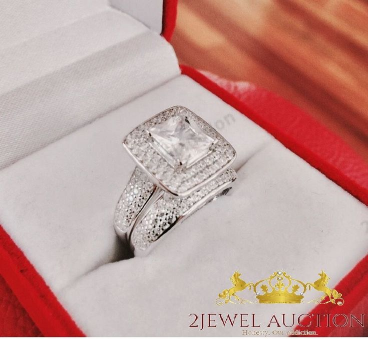14K White Gold Princess Cut Diamond Engagement Ring Wedding Band Bridal Set
