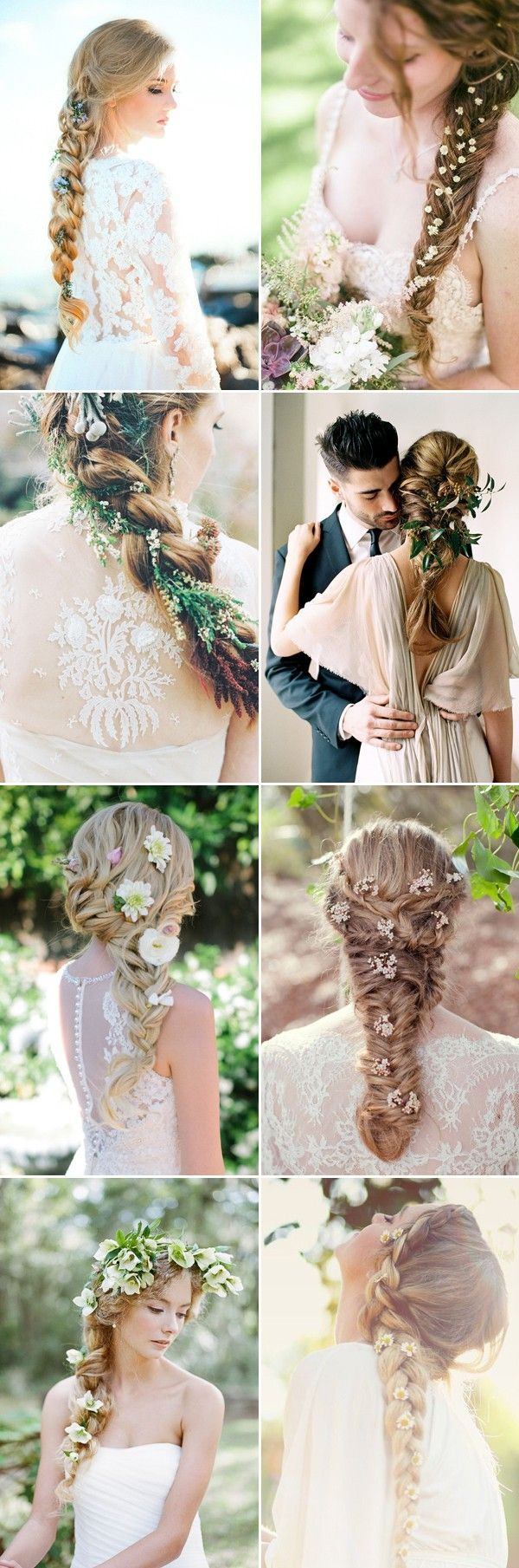 Braids wedding hairstyles with fresh flowers / http://www.himisspuff.com/bridal-wedding-hairstyles-for-long-hair/