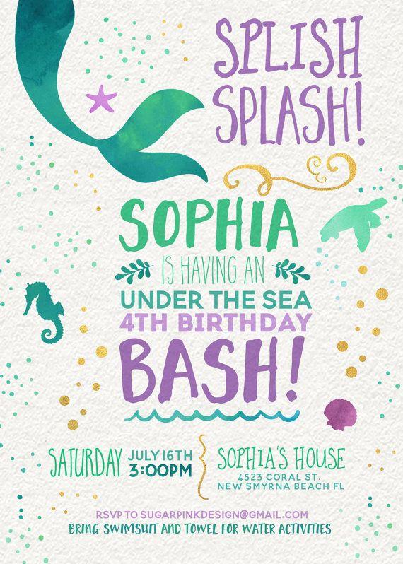 Mermaid Invitation Mermaid Birthday Invitation by SugarPinkDesigns