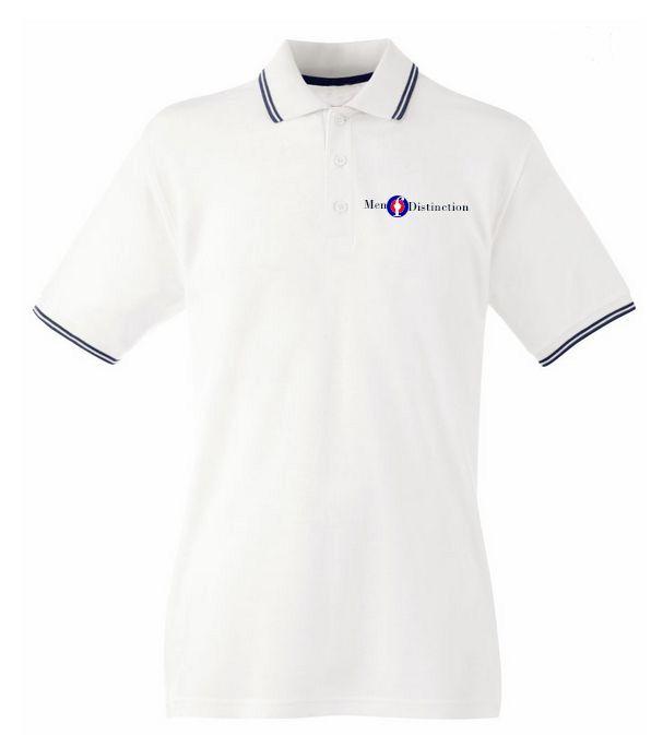 Men Of Distinction  Embroided Polo Shirt White