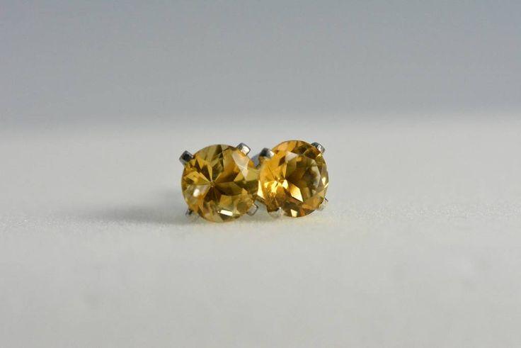 Citrine earrings stud - sterling silver 6mm round november birthstone