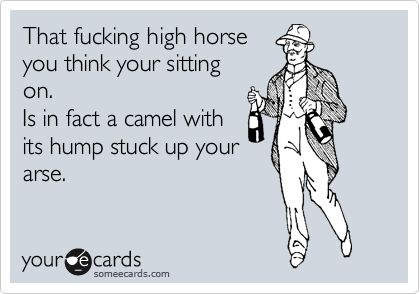 Funny Breakup Ecard: That fucking high horse you think your sitting on.