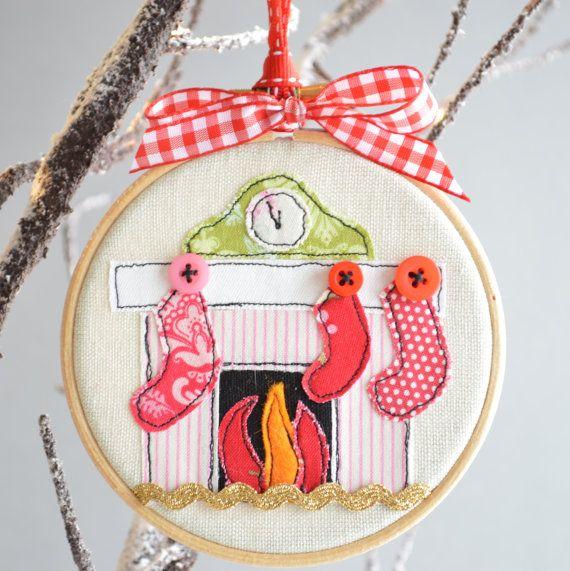 Embroidery hoop Christmas Stockings Tree Bauble by rachelandgeorge