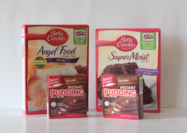3 2 1 cake with instant pudding! Mix 1cake mix, 1angel food cake mix, and 2 boxes of instant pudding mix.  To make, use 1/4 c dry mix with 1/4 c water in mug. Microwave 1 min.  Can substitute cold coffee, fruit juice, etc. for water. Top with whipped cream, Nutella, peanut butter, or marshmallows!
