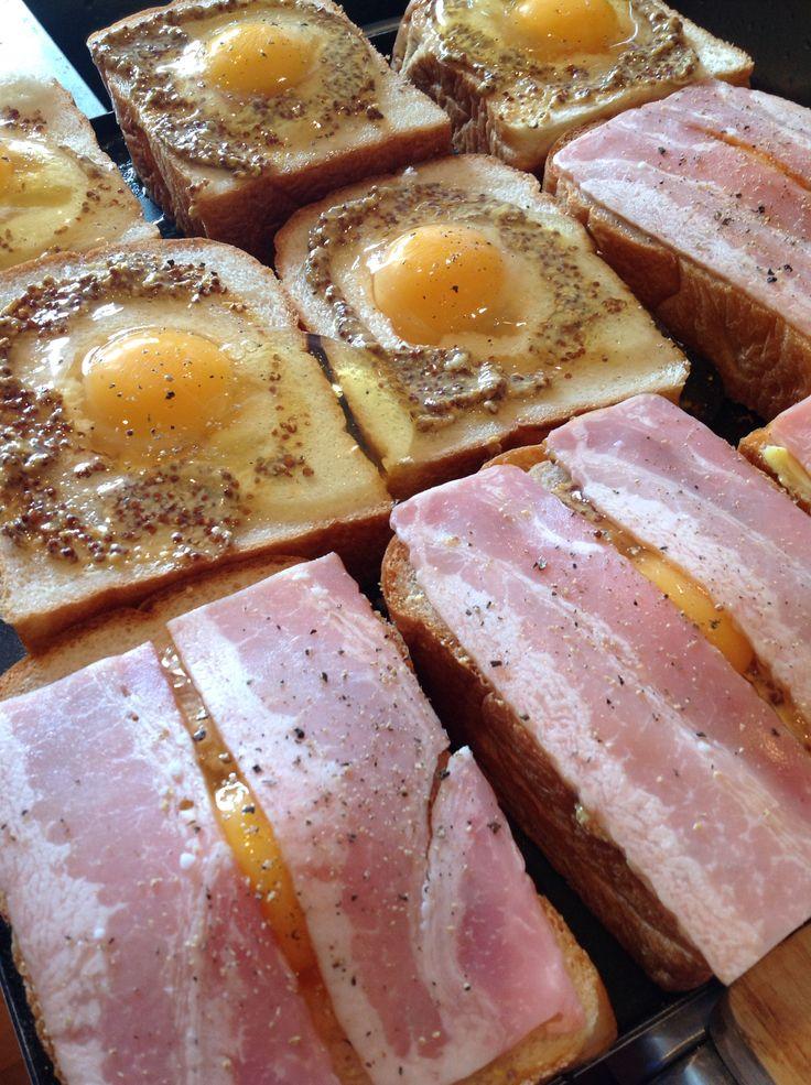 美味しい卵のベーコンチーズトースト