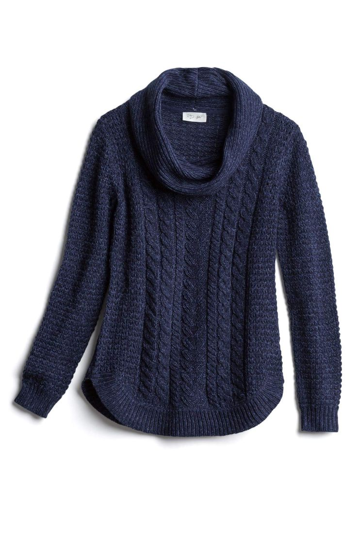 I love the cowl next and the thick texture of this sweater.  Would keep my neck …