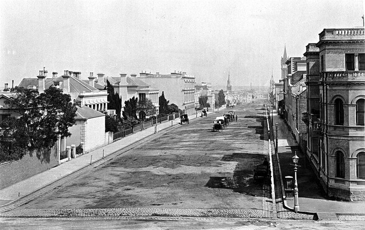 The eastern end of Collins Street looking west, apparently taken from the Treasury Building, c. 1880