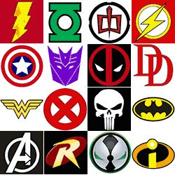 The Super Collection of Superhero Logos — print on cardstock and hang for decor